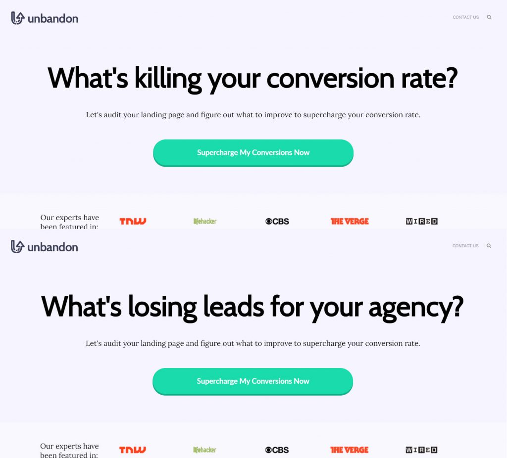 Dynamic Landing Pages Example